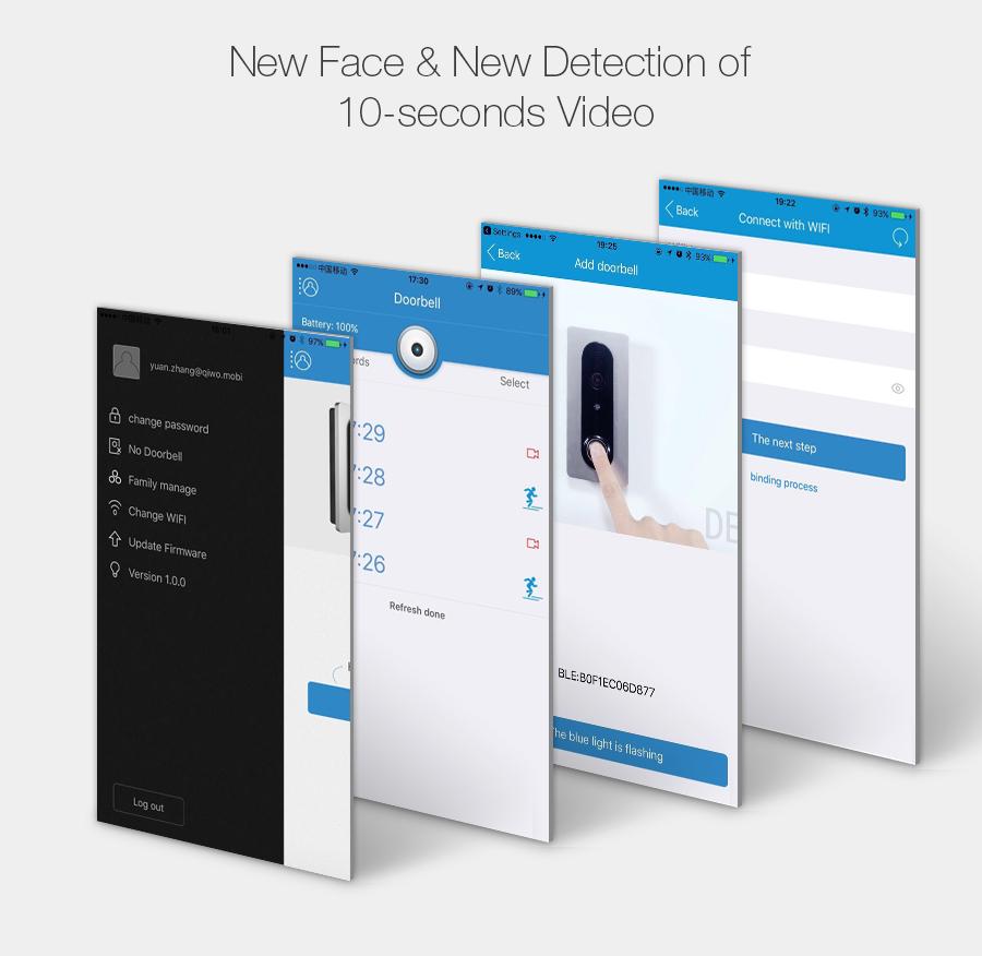Digoo SB-XYA Atualização Nova sem Fio HD Completo 1080P Bluetooth e WIFI Vídeo Campainha Pro Casa Inteligente PIR Sensor Recarregável Campainha Câmera Notificação de Chamada