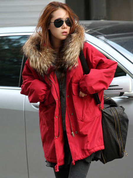 Wholesale Fashionable Ladies Hooded Heavy Fur Collar Fall Winter Coat