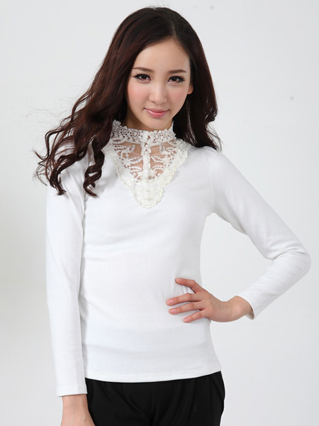 Wholesale Zanzea Woman High Collar Long Sleeve T-shirt