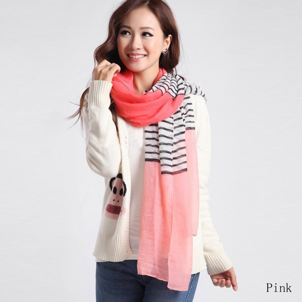 Wholesale Colorful Woman Striped Voile Multi-function Shawls Scarf
