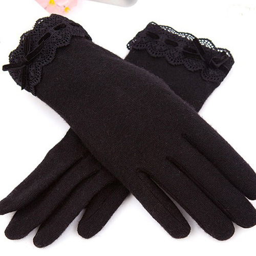 Wholesale Women Winter Lace Wool Cashmere Gloves
