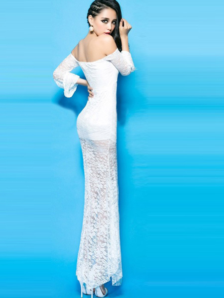 Wholesale Sexy White OFF SHOULDER Bodycon Cocktail Evening Long Maxi Dress