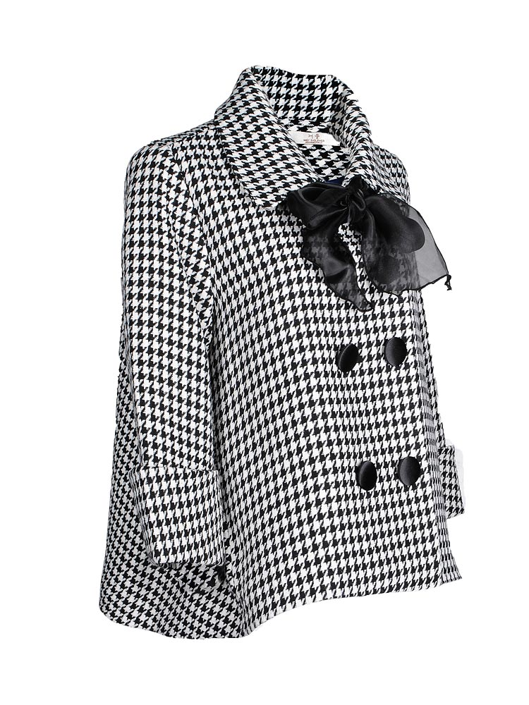 Wholesale Houndstooth Bow Cashmere Wool Coat Jacket