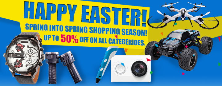 HAPPY EASTER! SPRING INTO SPRING SHOPPING SEASON! UP TO 50% OFF ON ALL CATEGERIOES.