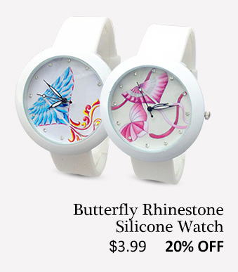 Butterfly Rhinestone Silicone Watch
