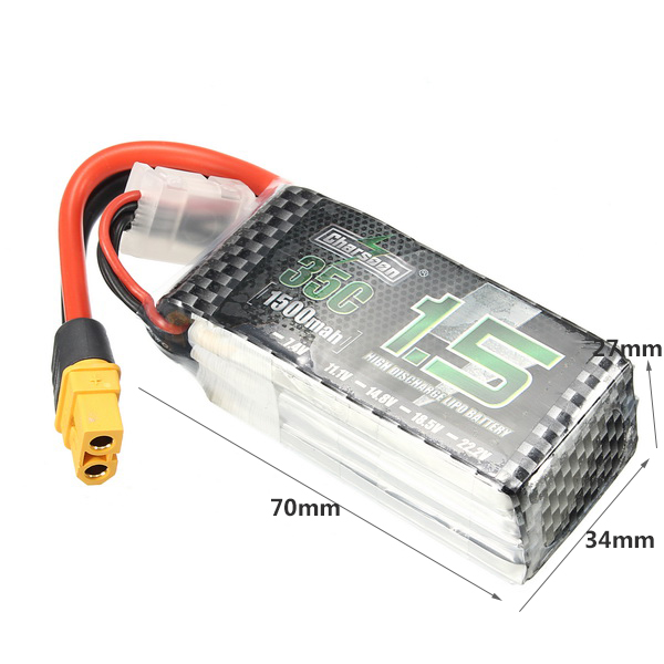 Charsoon 11.1V 1500mAh 35C 3S Lipo Battery XT60 Plug With Strap