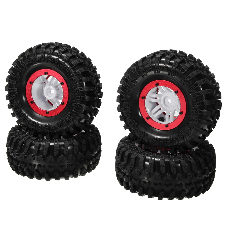 AUSTAR 4PCS Wheel Tires Rims Inflate Beadlock Pneumatic Tyre 3021RD For 1/10 RC Car