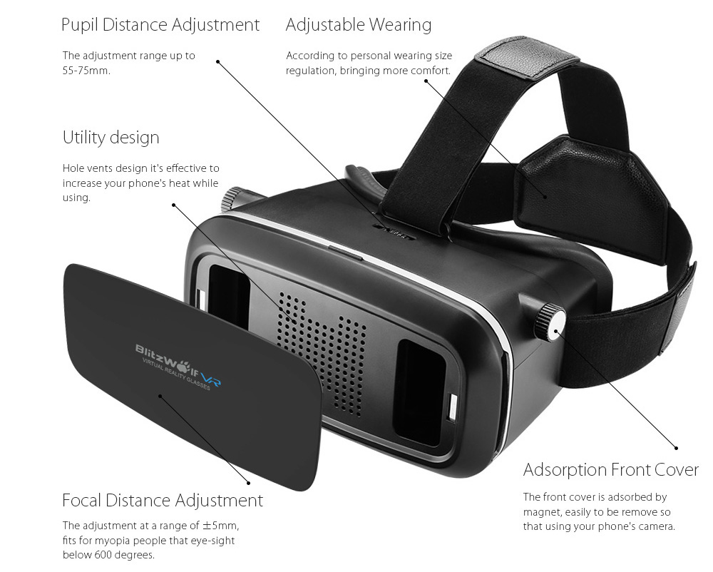 BlitzWolf® BW-VR2 Virtual Reality Headset Glasses with Bluetooth Control For 3.5-6.0 inch Cellphone
