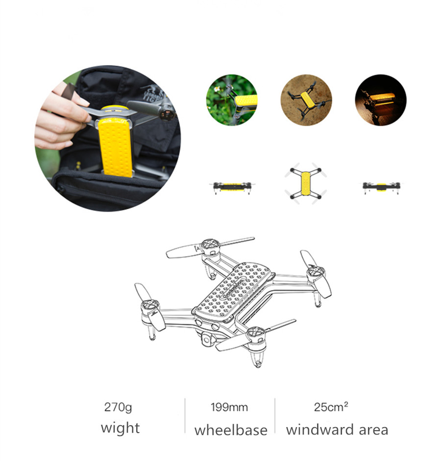 Geniusidea Follow Drone Wifi FPV With 4K HD Camera GPS Pocket Selfie RC Quadcopter