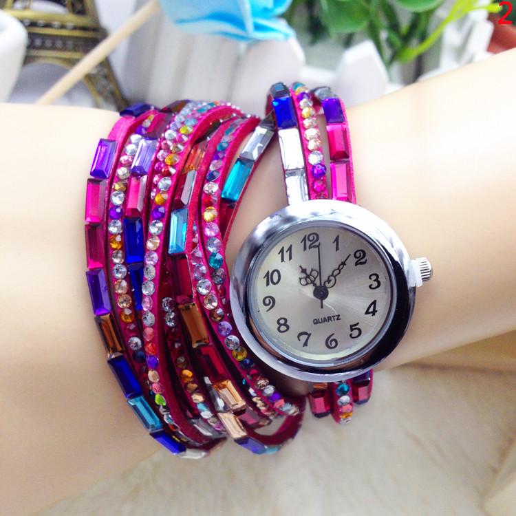 Colorful Rhinestone Wrap Long Strap Women Analog Bracelet Watch