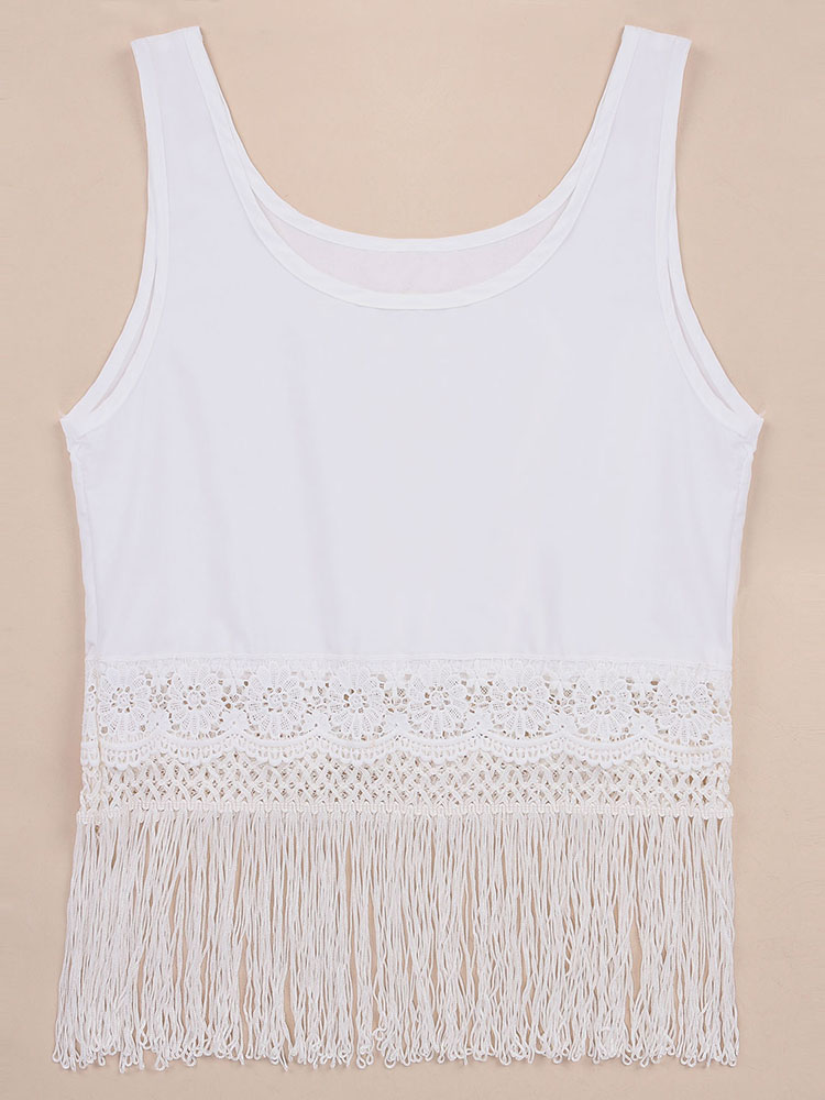Women Sleeveless Tassels Loose Crops Tank