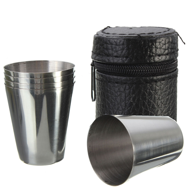 4pcs Stainless Steel Camping Travel Tumbler Cup Mug Drinking Coffee Beer With Cover