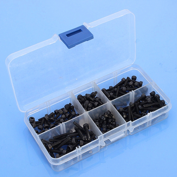 180pcs M3 Steel Hex Socket Head Cap Screw Assortment Set 4mm To 20mm Length 50pcs flange washer socket button head screw m3 m4 m5 m6 304 stainless steel a2 washer head hexagon socket button head screw