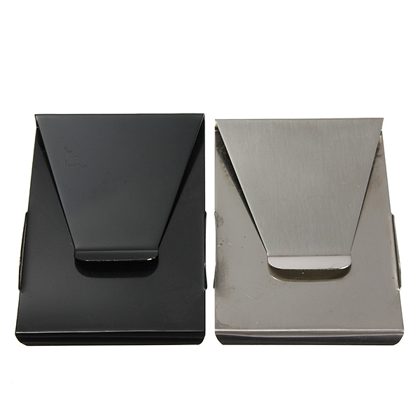 Bgood Slim Stainless Steel Double Sided Money Clip Wallet Credit Card Holder
