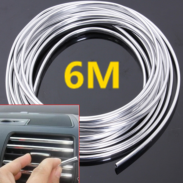 6M Chrome Moulding Trim Strip Car Door Edge Scratch Protector Cover 2 colors car styling protector side edge protection pad protected anti kick door mats cover for peugeot 3008 2014 2015 2016
