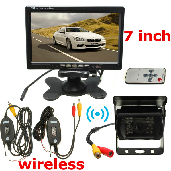 Wireless 7inch LCD Monitor & 18 LED IR Rear View Reversing Camera Night Version Kit 4 3 tft lcd car rear view stand security monitor and camera kit black