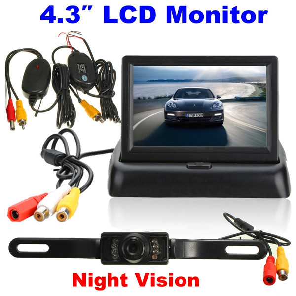 4.3 Inch LCD Monitor Wireless IR Night Vision Rearview Reverse Camera kit car reverse rear camera 4 3 tft lcd monitor 2 in 1 parking system for peugeot 3008 3008cc 5d crossover 2008 2012