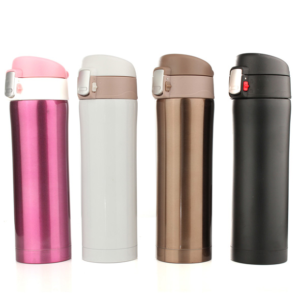 450ml Thermos Cup Stainless Steel Bottle Vacuum Flasks Thermoses - EachineCup &amp; Bottle<br>Description: 450ml Thermos Cup Stainless Steel Bottle Vacuum Flasks Thermoses Excellent heat preservation and strong sealing, Thermos Cup is portable and convenient to be carried, which is ideal gift for student, friends or yourself. Specifications: Material: Stainless Steel+PP Color: Black,White,Pink,Gold Size: L*H/6.5*23CM Capacity: 450ML Heat preservation time: About 10 hours Package included: 1Pcs x Portable Water Bottle<br>