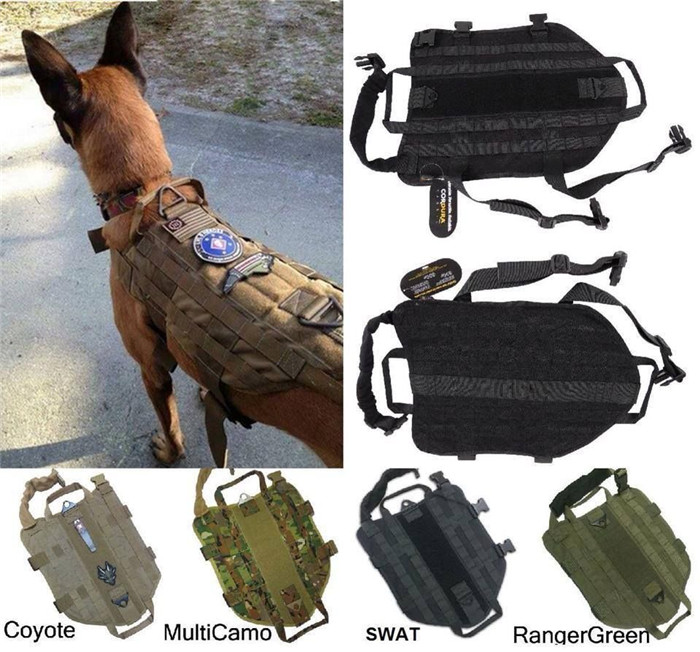 Army Tactical Dog Vests Hunting Dog Training Molle Vest Outdoor Military Dog Clothes army green adjustable outdoor sport bag multifunction pockets hunting fishing vest tactical backpack fish accessory