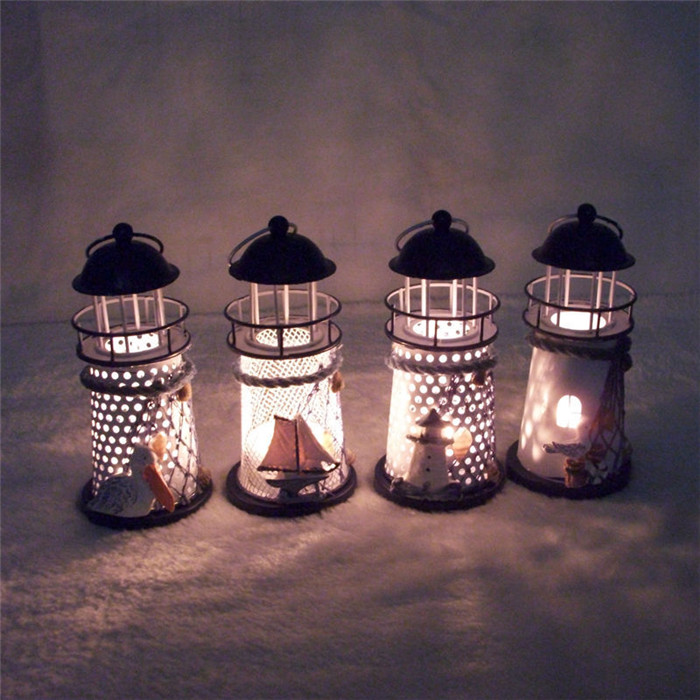 Lighthouse Iron Art Candle Holder Candlestick Candelabrum Mediterranean Style Home Decor e14 3w 270lm 6500k white non dimmable led candle candelabrum lamp bulb silver 6 pcs