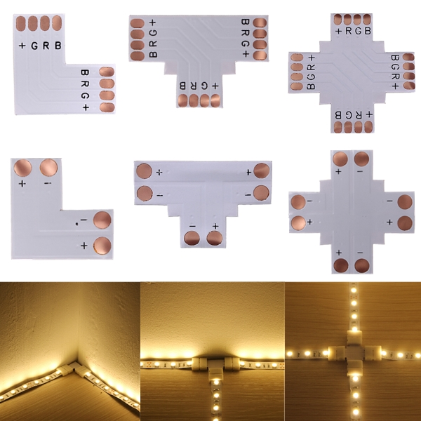 5050 RGB 4-pin LED Strip Connector Corner 10mm DC 12/24V 20pcs lot led connector silicon clip for fixing non waterproof 3528 5630 5730 3014 5050 smd rgb rgbw led strip bracket clamp