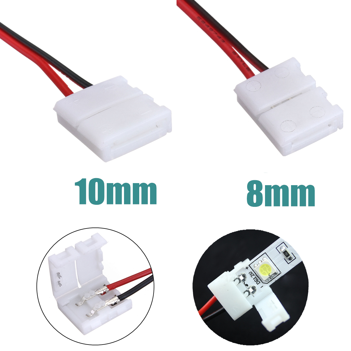 2-Pins Power Connector Adaptor For 3528/5050 Led Strip Wire With PCB free shipping super wide u shape aluminum anodized profile for led strips with cover and end caps for dual row led strip