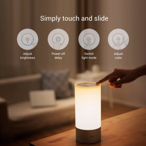 Original Xiaomi Yeelight Bedside Lamp RGB Wireless Touch Control Night Light For Cellphone led touch color change night light motion sensor bedside lamp bluetooth speaker touch control support mobile phone app control
