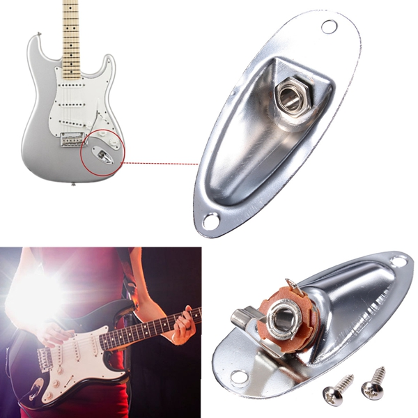 Chrome Guitar Output Loaded Input Jack Plate Replacement For Fender Strat от Banggood INT