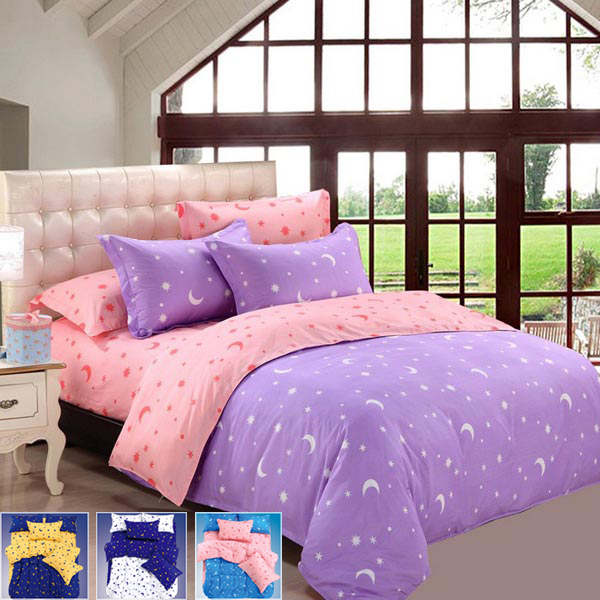 4pcs Bedding Suit Polyester Fibre Star Moon Reactive Printed Bedding Sets navimc moon and star spiral design crystal chandelier lustre stair light fixture for hotel hallway