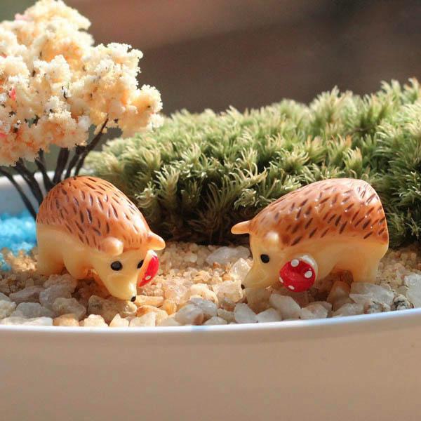 Micro Landscape Decorations Mini Resin Hedgehog Garden DIY Decor