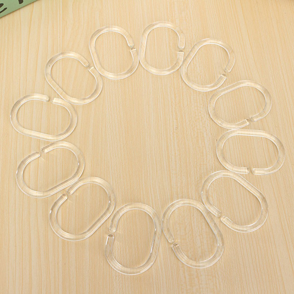 12pcs C Type Clear Plastic Shower Curtain Hooks Bath Curtain Glide Hanger At Banggood Sold Out