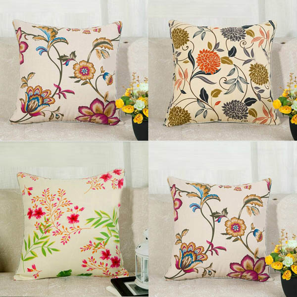 Flower Print Pillow Cover Cotton Canvas Home Office Car Cushion Cover | Banggood