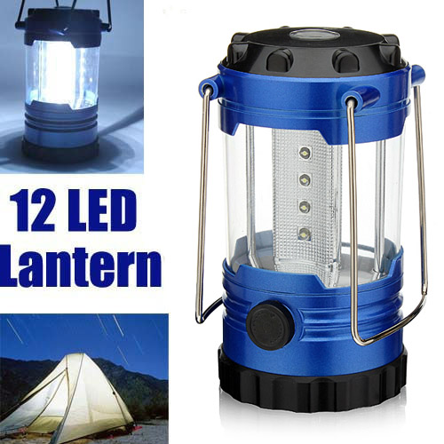 12 LED Adjustable Camping Tent Lamp Light Lantern With Compass - EachineOutdoor Lantern<br>12 LED Adjustable Camping Tent Lamp Light With Compass for Night Riding Walking Camping Outdoor Standby Specification: Material: ABS, Metal LED bulb number: 12 Dimension: 5.7inch x 3.2inch / 14.5cm x 8cm ( H x D) Color: Blue Weight:205g Feature: Ultra bright 12 white LEDs, LED bulb life up to 100,000 hours Powered by 3 x AA batteries (Batteries not included) A switch on body side for adjusting the brightness A compass shows you directions when you are in outdoor activities 2 metal handles keep balance when hanged or carried Suitable for camping, reading, fishing, car repairs and other outdoor activities. Package included: 1 X LED Bivouac Light<br>
