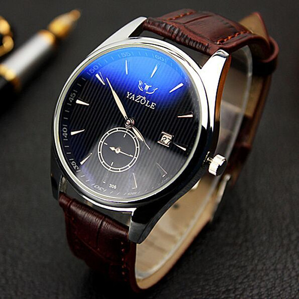 YAZOLE 306 Men Fashion Casual Luminous Hands Calendar Leather Quartz Watch onlyou lovers watch men women quartz watches retro design real leather band couple dress calendar waterproof gift wristwatches