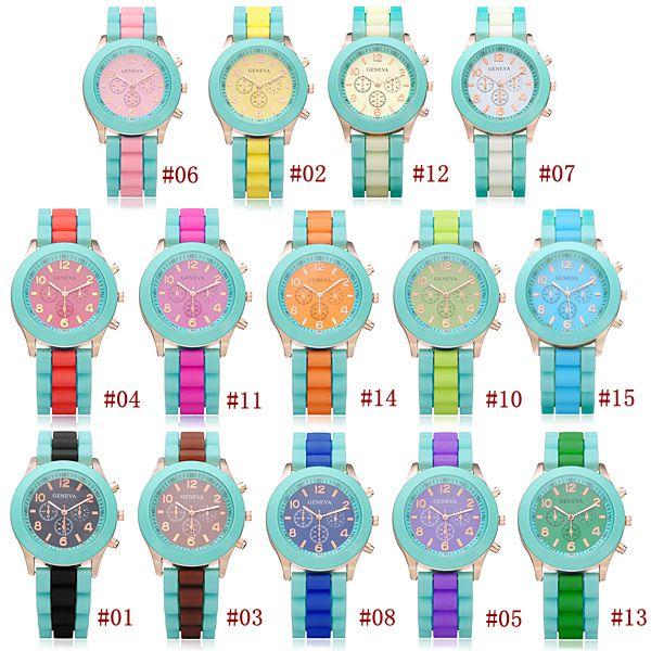 Silicone Number 3 Dial Women Round Quartz Wrist Watch