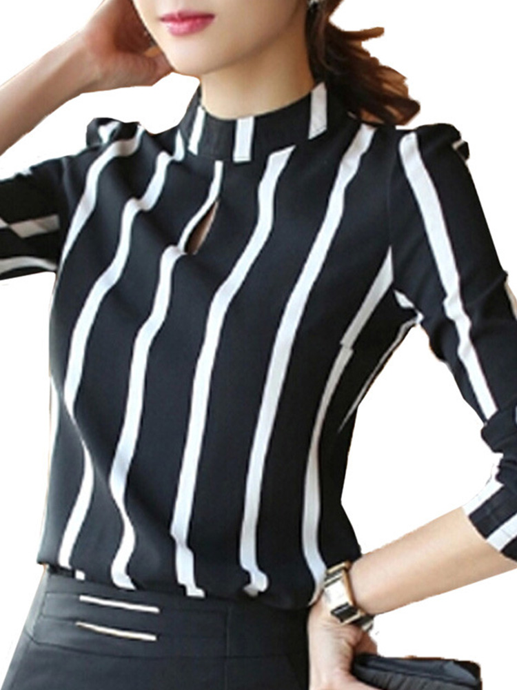 Women Hollow Out Chiffon Stripe Long Sleeve Blouse от Banggood INT