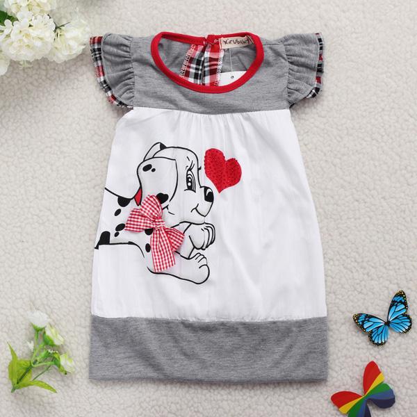 Baby Infant Cartoon Dog Dress Cotton Short Sleeve Skirt