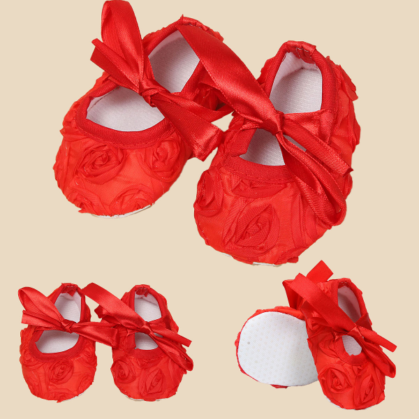 Baby Infant Red Bow Satin Shoes Soft Sole Prewalker