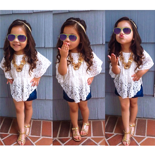Baby Girls White Lace Princess Batwing Sleeve Tops