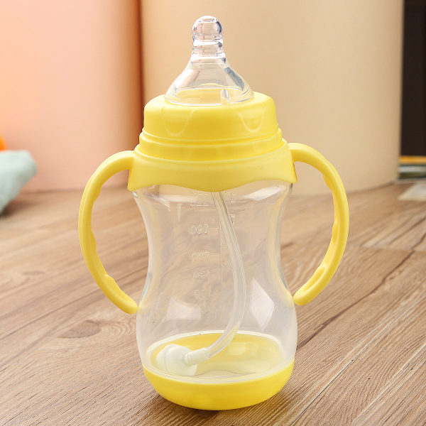 Baby 250ml Feeding Milk Bottle Silicone Nipple Handle Straw