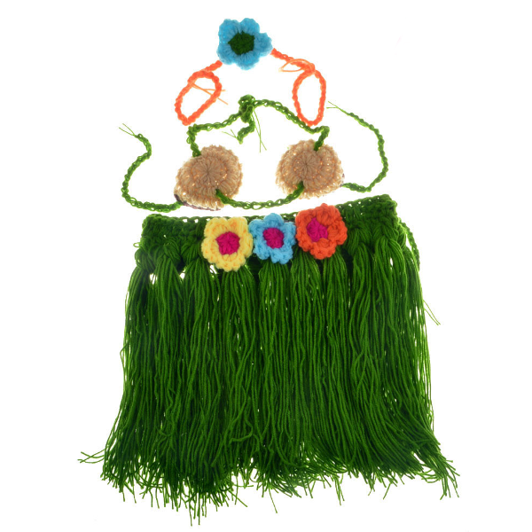 Baby Infant Hula Skirt Crochet Costume Photography Prop Clothes