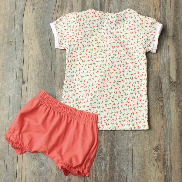 Baby Girls Flower Dot Set Casual Top Pants Outfit