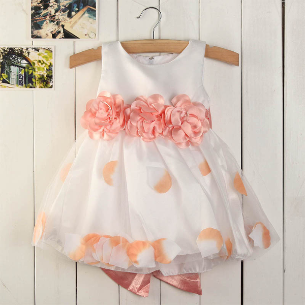 Baby Girls Sleeveless Princess Stitching Styles Bow Dress