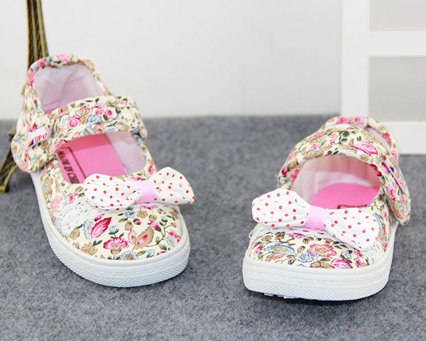 Baby Girls Floral Canvas Breathable Lightweigh Shoes