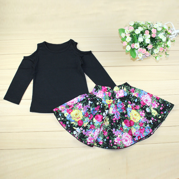Baby Children Flower T Shirts Dress Long Sleeve Clothes Set