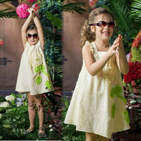 Baby Girls Sleeveless Flower Dress Causal Princess Skirt
