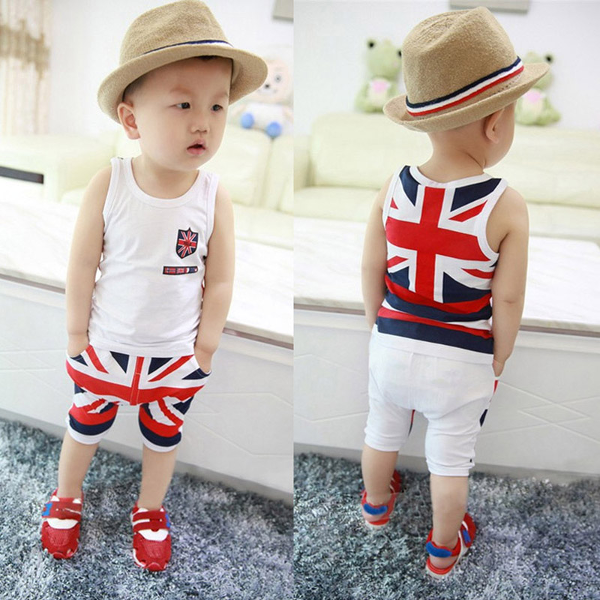 Baby Boys Casual Flag Sleeveless Summer Tops Pants Set