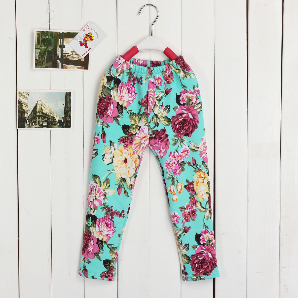 1 Pcs Child Winter Warm Trousers Baby Kids Floral Pants Girls leggings