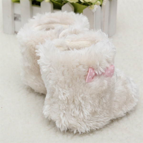 Toddler Baby Girl Boots Bowknot Princess White Plush Snow Booties