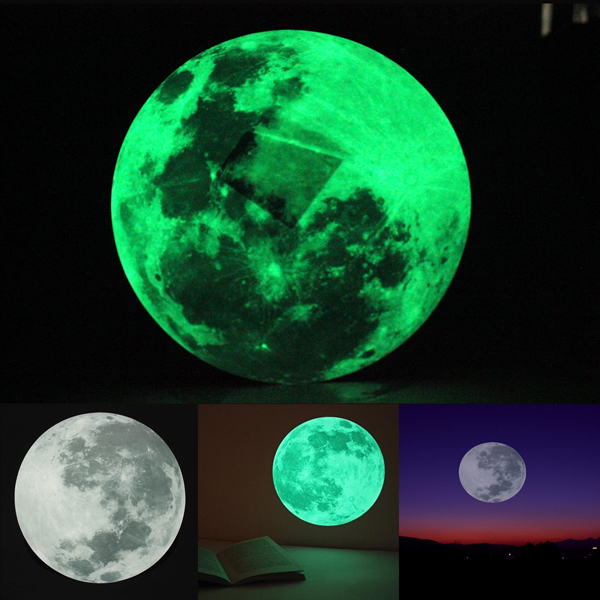 30cm large moon wall sticker removable glow in the dark small clair de lune glow in the dark moonlight sticker